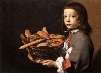 Evaristo Baschenis, Ragazzo con canestro di pane, 1655-56