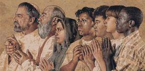 John Nava, Arazzo della communion die santi (particolare), Cattedrale di Los Angeles, USA, 1999-2002.