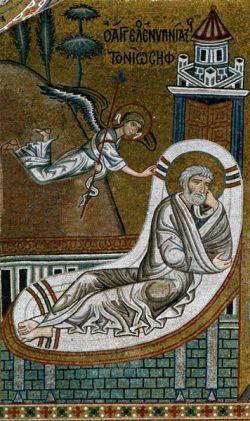 Sogno di Giuseppe (particolare), mosaico, 1140_70, Duomo di Monreale
