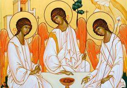 Le icone di Bose, Trinità - stile bizantino russo - tempera all'uovo su tavola telata e gessata