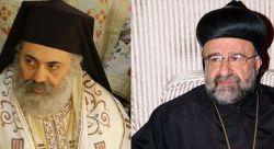metropolita Paolo Yazigi, arcivescovo greco-ortodosso di Aleppo e Alessandretta (sinistra); metropolita Giovanni Ibrahim, arcivescovo siro-ortodosso di Aleppo (destra)