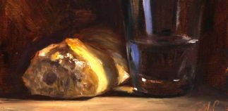 Julian Merrow-Smith, Pane e vino, olio su tela.