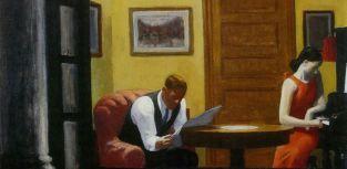 Edward Hopper, Room in New York, 1932, olio su tela; 71.9 x 93 cm (particolare).