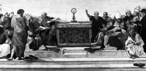 Raffaello Sanzio, Disputa del sacramento (particolare), Stanza della segnatura, Vaticano, 1510