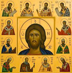 Le icone di Bose - Padri d'oriente e d'occidente - stile bizantino - tempera all'uovo su tavola cm 40x40