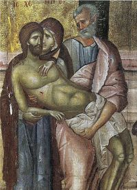 Grecia, Serres, Monastero di San Giovanni il Precursore Deposizione dalla croce, icona del 14° sec.