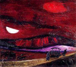 TRENTO LONGARETTI, Paesaggio in rosso con figure