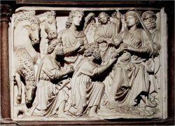 Nicola Pisano, Adorazione dei magi, pulpito del battistero di Pisa, 1260