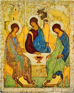 A. RUBLËV, Trinità - Tempara all'uovo su tavola,  Galleria Tretjakov - Mosca