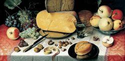 Floris Claesz van Dijck, Natura morta con frutta, noci e formaggio, olio su tavola, 1613, Franz Hals Museum.