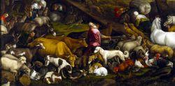 Jacopo Bassano; Gli animali entrano nell'arca, 1570 circa, olio su tela, 207  x 265 cm, Museo del Prado, Madrid