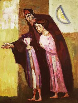 TRENTO LONGARETTI, Mendicando - Olio su tela, cm 108x82 - 1999