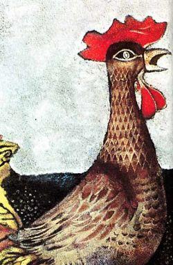 Olio su tela, particolare dell'opera Ippolita con il gallo cm 100x75 - 1966 - col. priv.