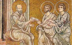 San Paolo con i santi Timoteo e Tito, mosaico del XII sec., Monreale..