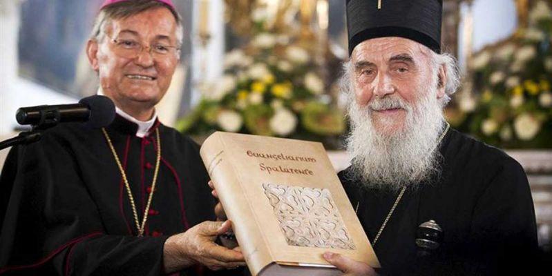 L' arcivescovo di Spalato Marin Barisic e il patriarca Irinej