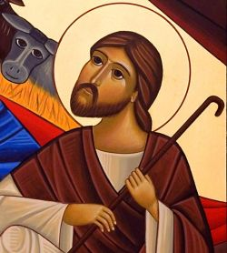 The icons of Bose, Coptic style, Nativity (detail), egg tempera on wood