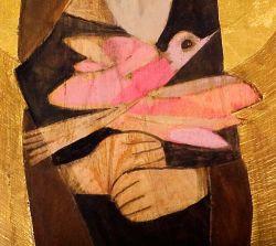 Tempera su tavola lignea e oro in foglia, particolare dell'opera Uomo di pace