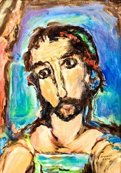 Christ's face, oil on canvas, replica of the original painting by G. Rouault