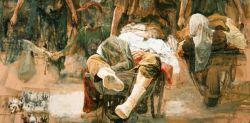 Safet Zec, Carriola o Partenza (particolare), 2001, olio su tela,160 x 220 cm