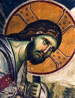 Affresco di EMANUEL PANSELINOS, particolare della discesa agli inferi -  Protathon - Monte Athos GR