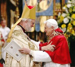 The archbishop of Canterbury, Rowan Williams and pope Benedict XVI