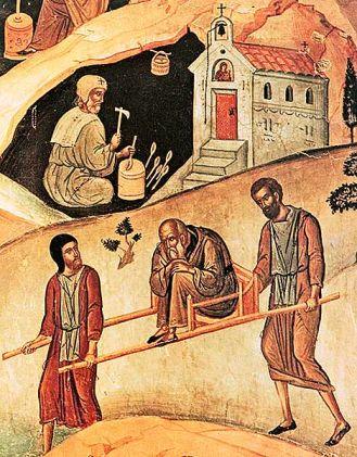 Particolare della DORMIZIONE DI SANT'EFREM IL SIRO, XIV secolo, affresco, Monastero di San Nicola, Meteore (Grecia)