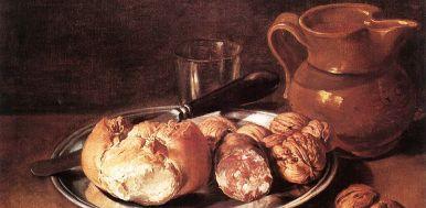 Giacono Ceruti (1698 – 1767), Pane, salame, noci e coltello, olio su tela.
