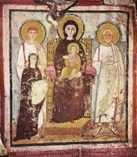 Roma, Catacombe di Commodilla affresco di Turtura 530 ca: Madre di Dio con il Bambino, i santi Felice, Adautto e la vedova Turtura