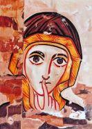 ícono de Bose, Mujer del silencio, estilo copta, inspirado en un fresco de la catedral de Faras-Egipto