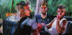 Mario ferrante, Naturale processo di riconoscimento, olio su tela 60 x 80 cm.