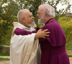 Enzo Bianchi, prior of Bose, and + Rowan Williams, archbishop of Canterbury