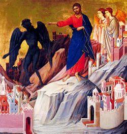 DUCCIO DI BONINSEGNA, Tentations de Jésus - XIVe s. - détrempe sur table