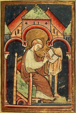 BEDA il VENERABILE, miniatura del XII sec..