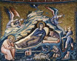 Pietro Cavallini, natività di Cristo , 1296-1300, Santa Maria in Trastevere Roma