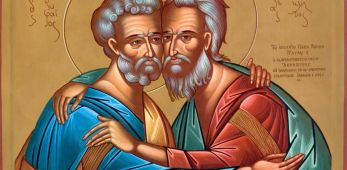 Meletios Sikiotis, Icona dell'abbraccio tra san Pietro e sant'Andrea, 1964