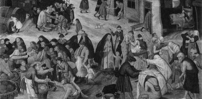 Pieter Brueghel il Giovane, Le sette opere di misericordia, 1616 - 1618 ca. Olio su tavola, Bruxelles. Particolare rieleborato in bianco e nero.