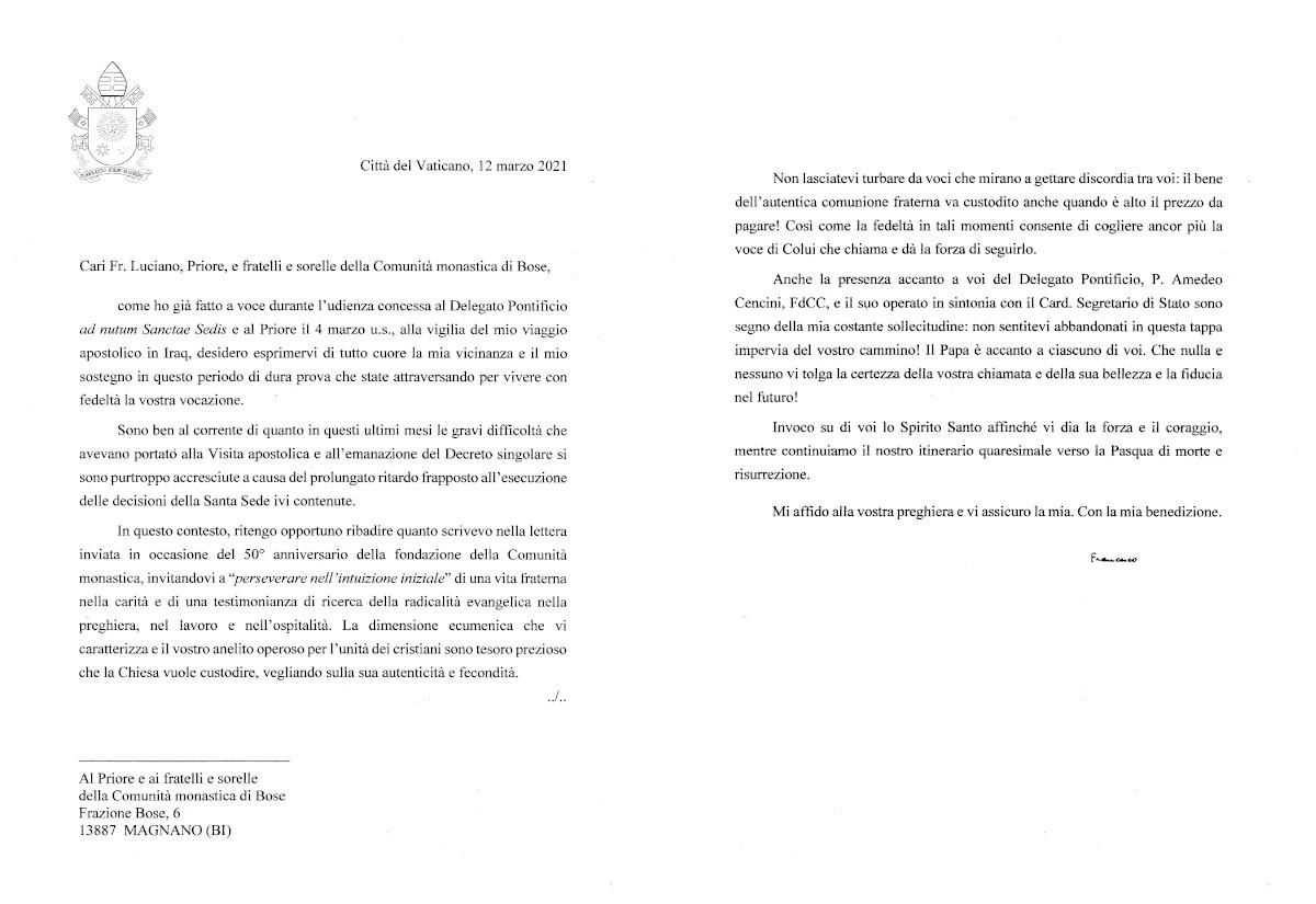 Carta del Papa a la Comunidad de Bose