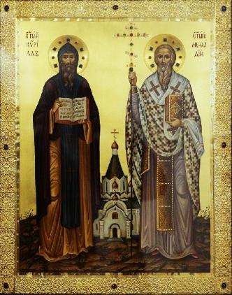 CIRILLO E METODIO, icona russa del XVIII sec.