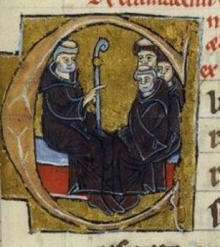 Pietro il Venerabile con i suoi monaci, miniatura