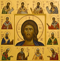 the icons of Bose - the eastern and western Fathers, Byzantine style