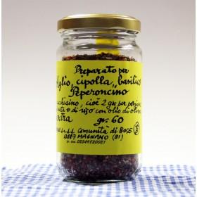 Preparato aglio, cipolla, basilico e peperoncino